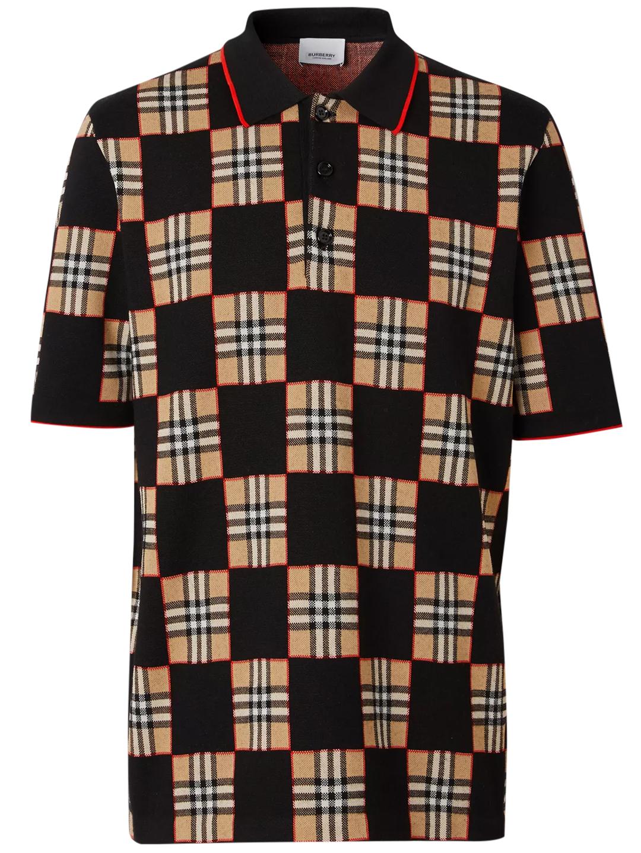 Burberry Checkerboard Polo In Brown