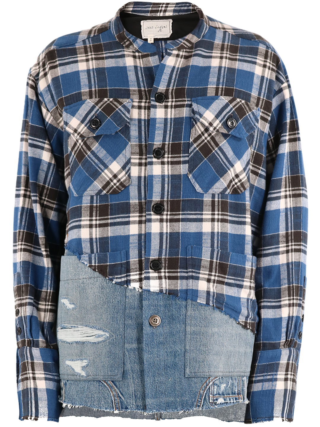 Greg Lauren CHECK SHIRT WITH DENIM