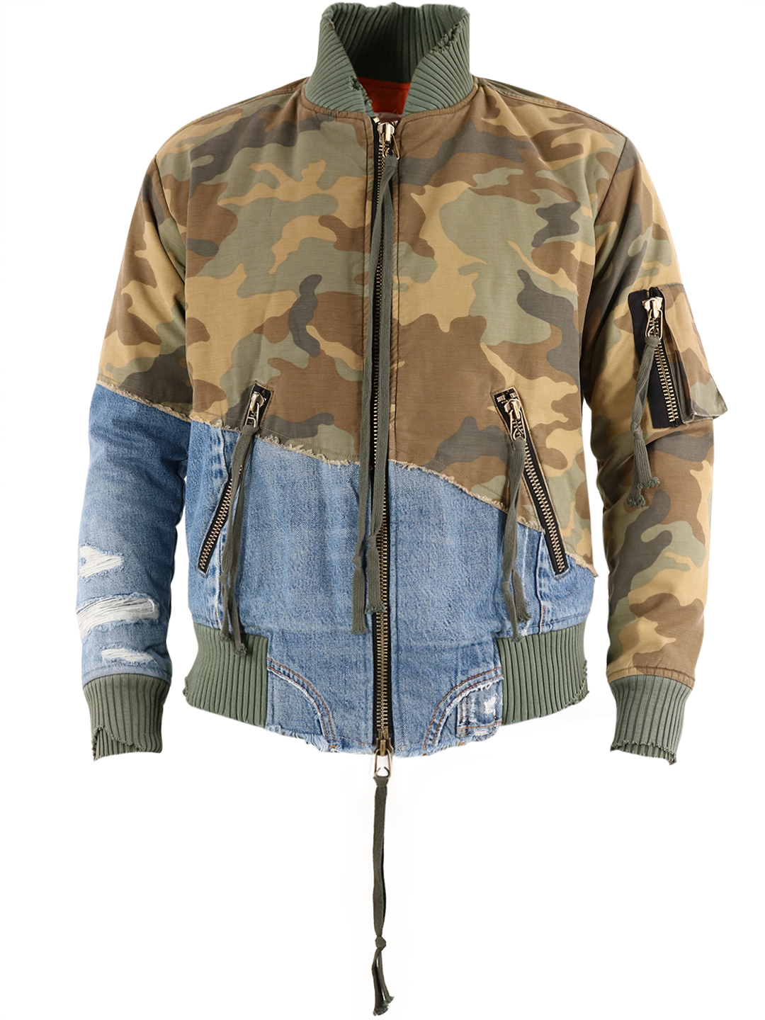Greg Lauren CAMOUFLAGE AND DENIM JACKET