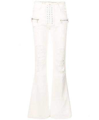 Jeans Bianco con Strappi