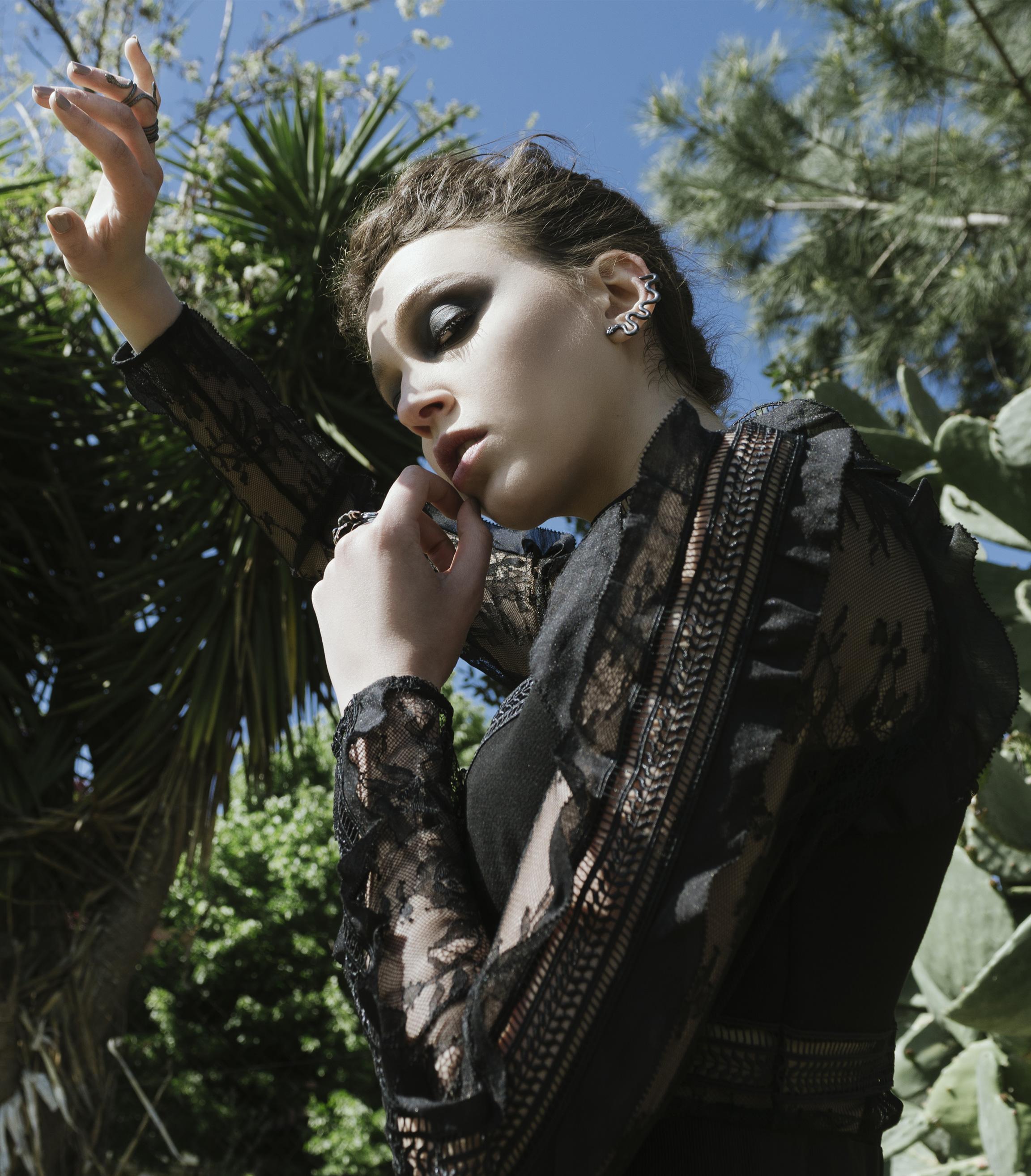 leam edit dark blossom editorial faith connexion valentino celine gown long black dress womenswear