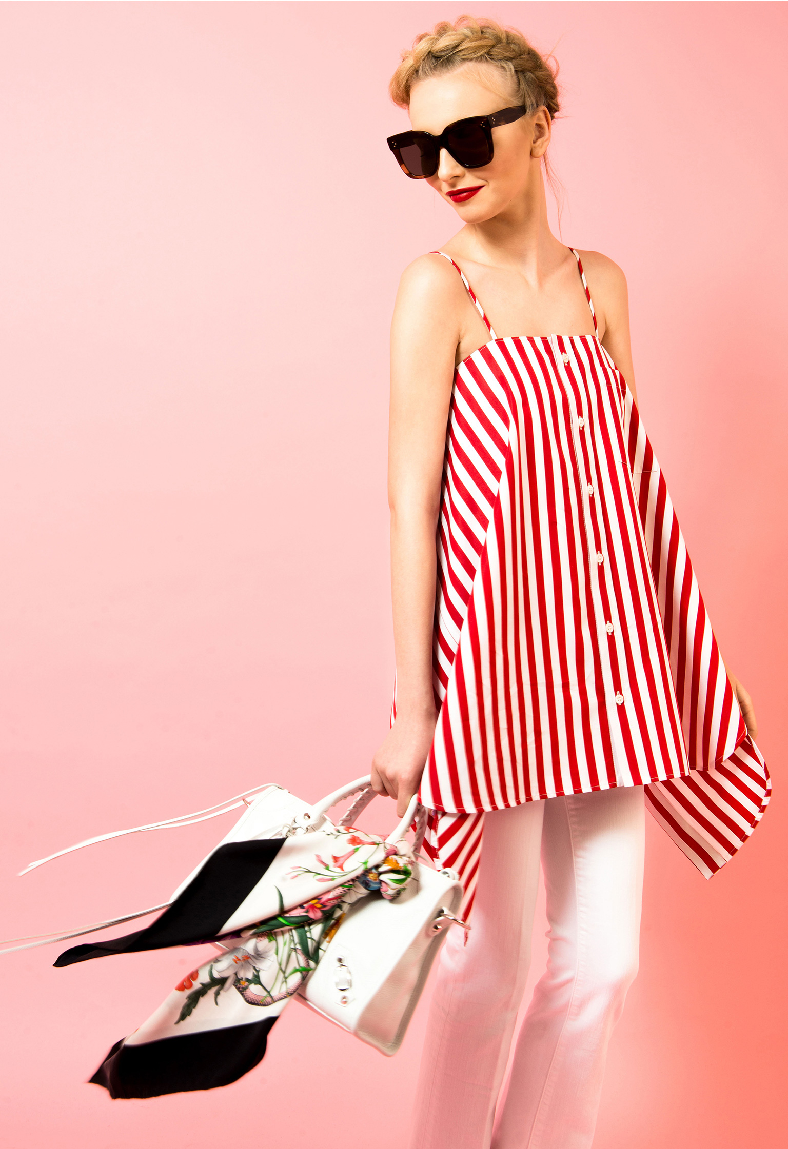 leam edit femme editorial balenciaga dress stripes saint laurent logo heels valentino rockstuds